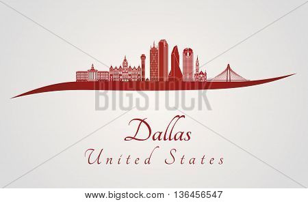 Dallas skyline in red and gray background in editable vector file