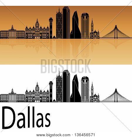 Dallas skyline in orange background in editable vector file