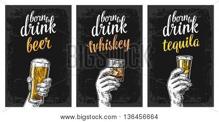 Male hand holding a glasses with beer tequila whiskey and ice cubes. Vintage vector engraving illustration for label poster invitation to invitation to party and birthday.