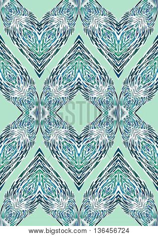 Seamless Pattern with Elements of Doodle Feather for Design