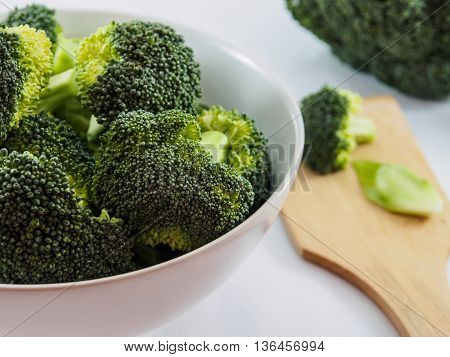 The broccoli in white bowl for healthy food