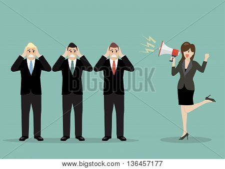 Business woman screaming to the businessmen. business concept