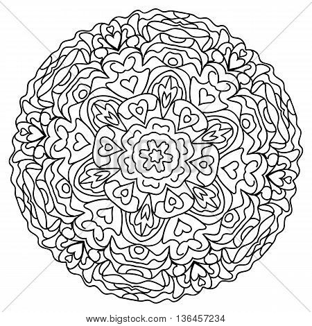 abstract mandala circular monochrome pattern. vector illustration