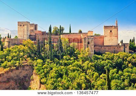 Alhambra palace at sunny day in Granada, Spain