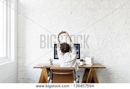 Woman Stretching Relaxation Resting Office Workplace Concept