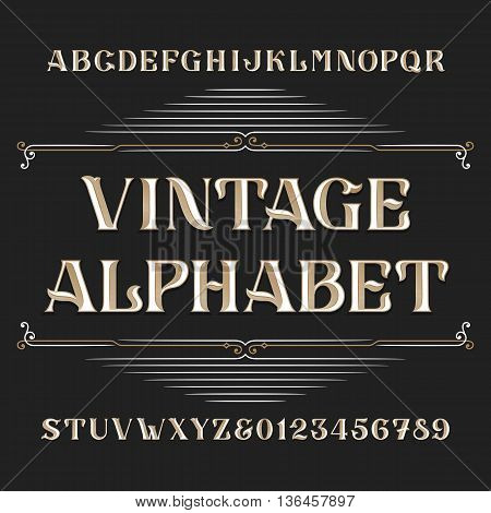 Vintage alphabet vector font. Type letters and numbers. Ornate vector font for labels, headlines, posters etc.