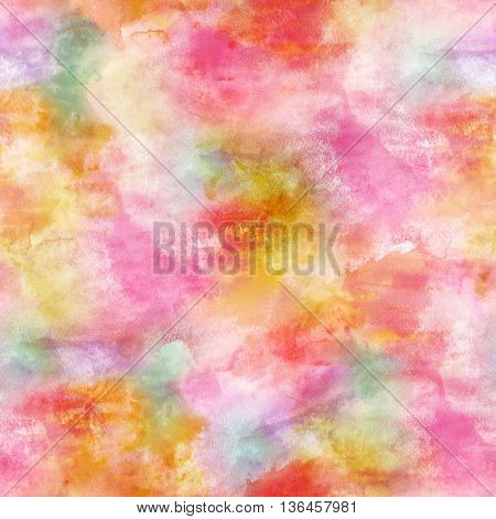 Seamless pastel watercolor background pattern: abstract artistic texture with pink yellow purple and light green strokes of paint; a festive frame