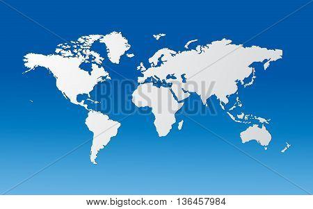 Globe White world map over blue background vector illustration
