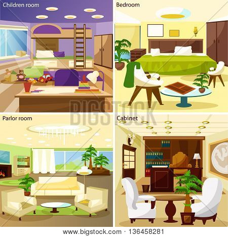Bright living room children room bedroom parlor room and cabinet interiors 2x2 design concept cartoon vector illustration