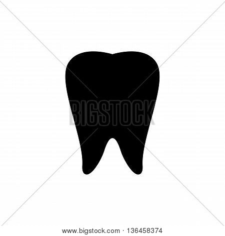 Black Tooth Icon on White Background for Design