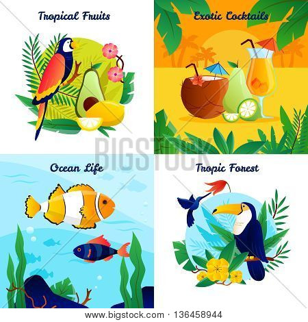 Tropical design concept with fruits exotic cocktails ocean life vector illustration
