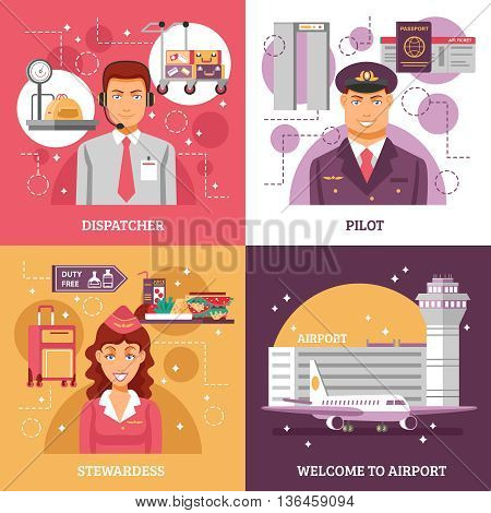 Airport design concept four square icons with descriptions of dispatcher pilot stewardess work vector illustration