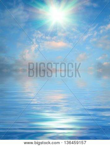 Abstract Surface water ripple and reflection of soft sky and clouds background