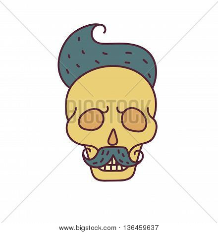 Skull with Hipster hair, mustache and beards.Color Fashion vector illustration.White background