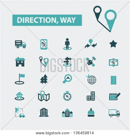 direction way icons