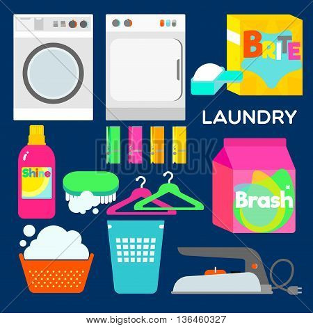 LAUNDRY Laundry appliances and equipments illustrated in graphic style.