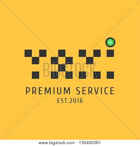 Taxi cab vector logo icon. Car hire black and yellow background badge app emblem. Word taxi made wth dots design element