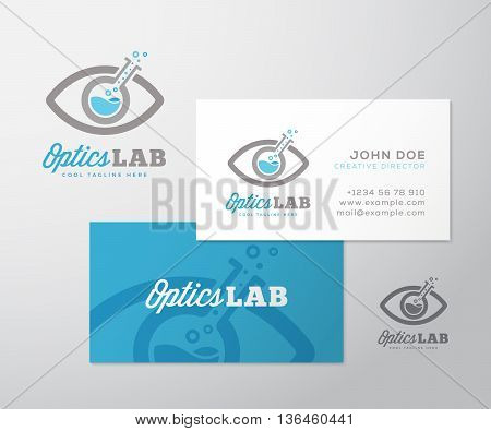 Optics Lab Abstract Vector Logo Template and Business Card Layout. Scientific Flask Incorporated into Eye Symbol. Ready Made Stationary Design. Isolated.