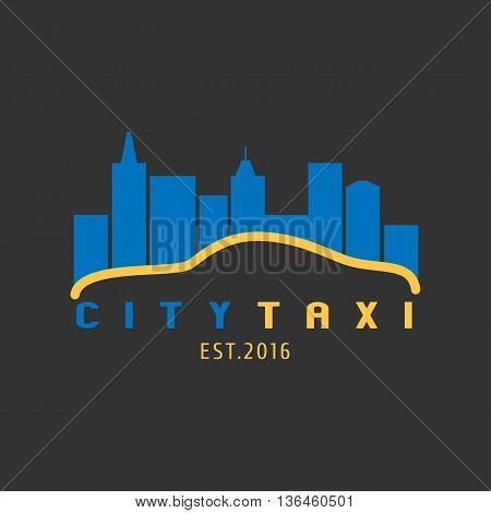 Taxi cab vector logo background. Car hire black and yellow background badge app emblem. City taxi design element