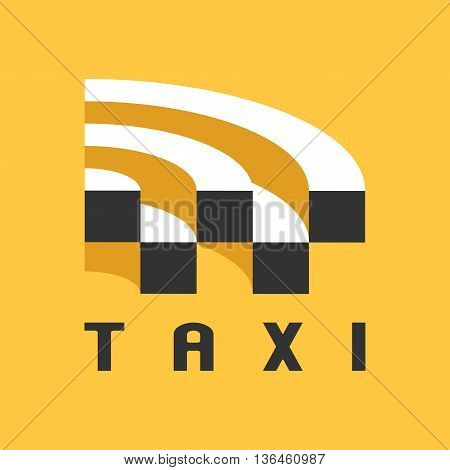 Taxi cab vector logo design icon. Car hire black and yellow background badge taxi app emblem