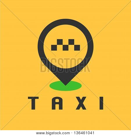 Taxi cab vector logo design. Car hire black and yellow background badge app emblem. Taxi point graphic icon