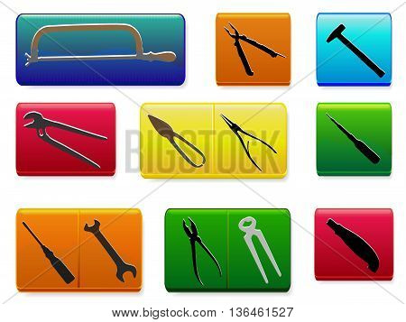 Set of colorful buttons with tools. Working tools on a rectangular green, orange, blue, red and yellow buttons