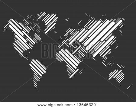 World map mosaic of white blocks with sharp corners on black background. Vector map of the World.