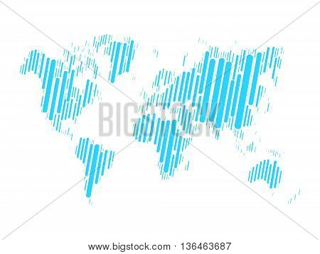 World map mosaic of blue blocks with rounded corners on white background. Vector map of the World. Modern background world design.