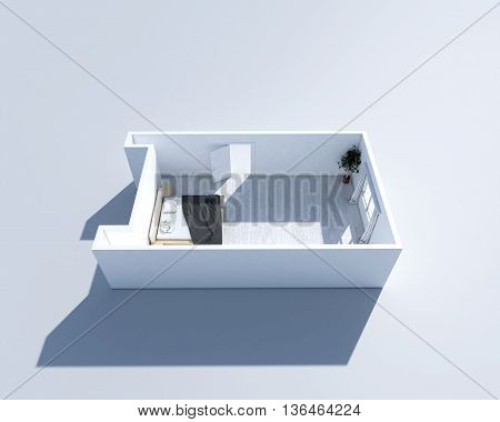 3D isometric rendering of a furnished residential house, on a blueprint,  the bedrooms