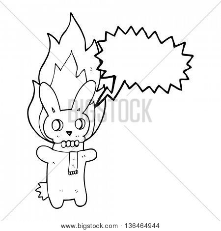 freehand drawn speech bubble cartoon flaming skull rabbit