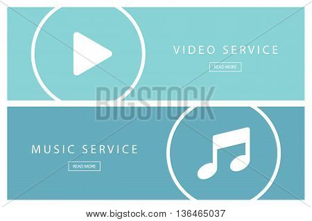 Set of flat design illustration concepts Video service and Music service. Banners for web design, marketing and promotion. Presentation templates. Vector illustration.
