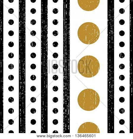 Seamless Vertical Stripe and Circle Pattern. Vector Wrapping Background. Minimal Line Design. Abstract Textile Texture