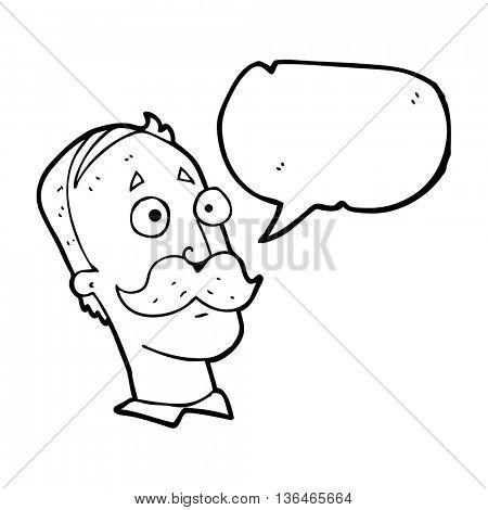 freehand drawn speech bubble cartoon man with mustache