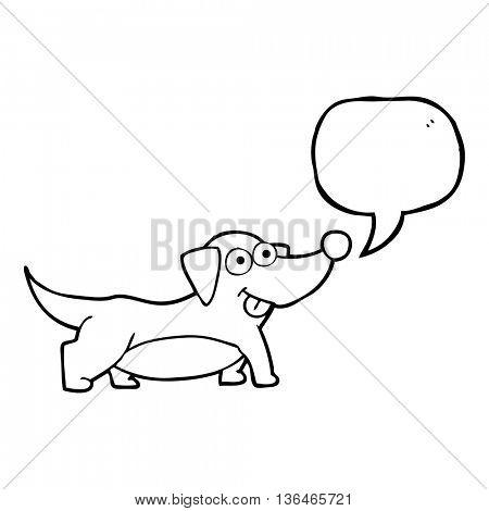 freehand drawn speech bubble cartoon happy little dog