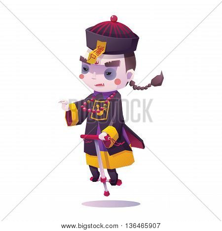 Vector Illustration of Chinese Hopping Vampire Ghost with Jumping Stick for Halloween on White Background, Cute Character