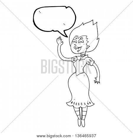 freehand drawn speech bubble cartoon vampire girl