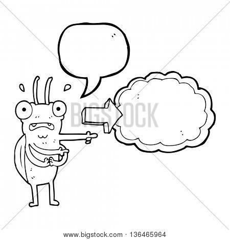 freehand drawn speech bubble cartoon bug pointing
