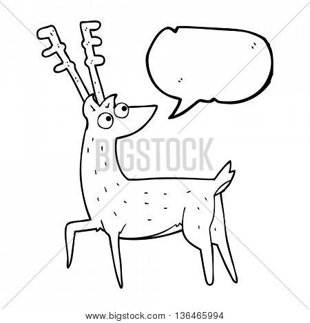 freehand drawn speech bubble cartoon stag