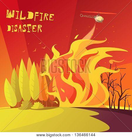 Color cartoon illustration wildfire disaster depicting burning forest vector illustration