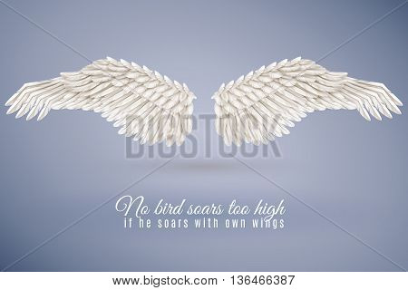 Pair of big realistic white bird wings set in middle isolated on blue background with quotation vector illustration