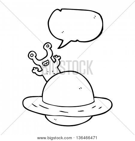 freehand drawn speech bubble cartoon alien planet