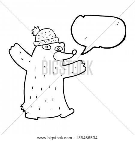 freehand drawn speech bubble cartoon bear wearing hat