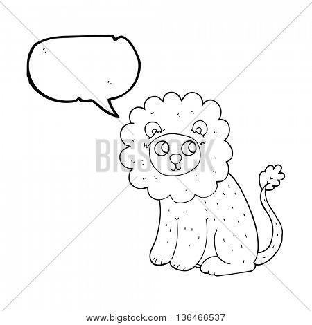 freehand drawn speech bubble cartoon cute lion