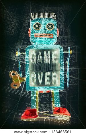 robot hold GAME OVER sine