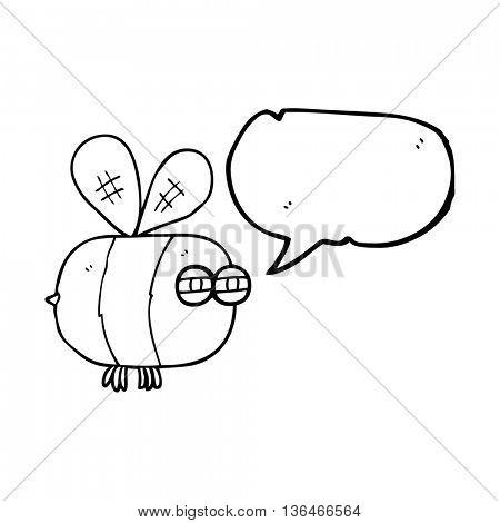 freehand drawn speech bubble cartoon angry bee