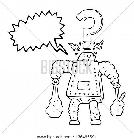 freehand drawn speech bubble cartoon confused robot carrying shopping