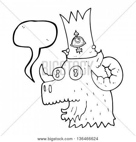 freehand drawn speech bubble cartoon ram head with magical crown