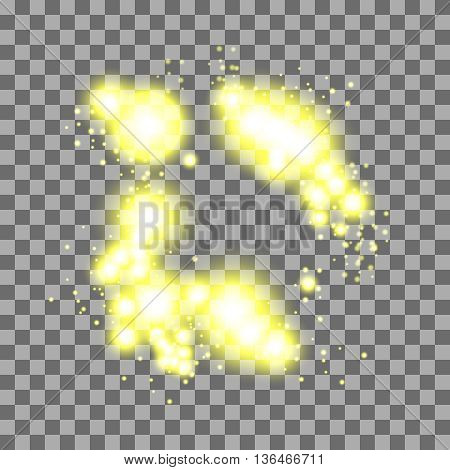 Light effects on transparent background. Burst, glitter, sparkle glow texture