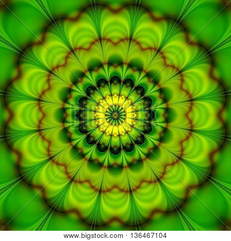Abstract background of stylized rotating concentric flower creating an illusion of movement. Green and yellow abstract geometric object with red wavy pattern
