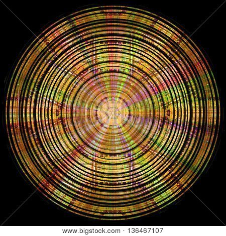 Abstract circular gold, red, green and pink disc with spectral rays on a black background. Abstract rotating glowing object with rays